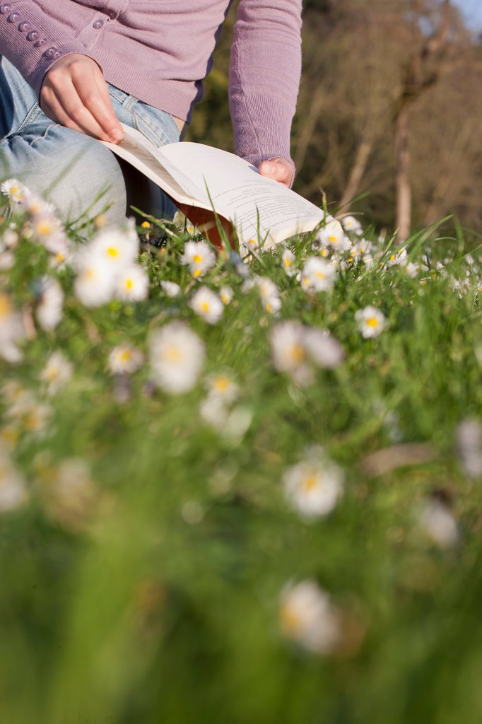Woman Reading in Park : Stock Photo