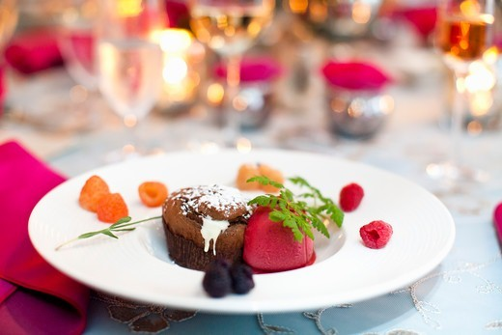 Stock Photo: 1828R-89144 Chocolate Cupcake and Raspberry Ice Cream at Wedding, Toronto, Ontario, Canada