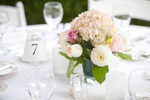 Stock Photo: 1828R-89145 Centerpiece on Table at Wedding, Toronto, Ontario, Canada