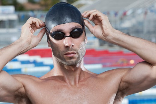 Stock Photo: 1828R-89200 Portrait of Swimmer, Fort Lauderdale, Florida, USA