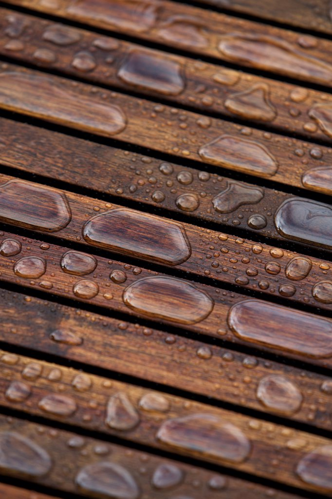 Stock Photo: 1828R-89349 Close-Up of Wet Patio Furniture, Vancouver, British Columbia, Canada