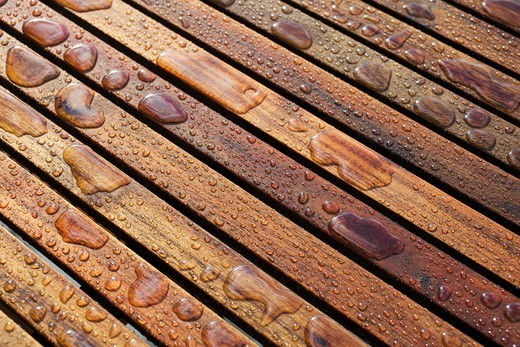 Close-Up of Wet Patio Furniture, Vancouver, British Columbia, Canada : Stock Photo