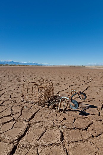 Stock Photo: 1828R-89483 Shopping Cart in a Dry Lake Bed, Salton Sea, CA, USA