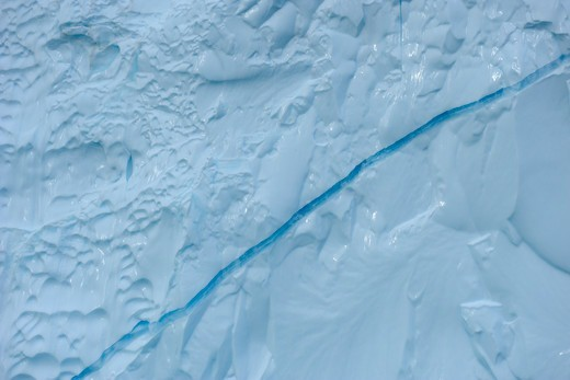 Crack in Iceberg, Rode Fjord, Scoresby Sund, Greenland : Stock Photo