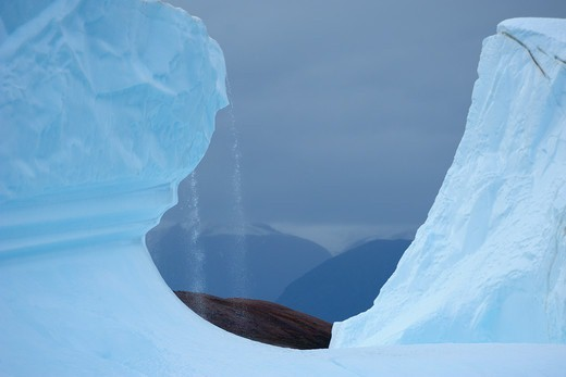 Meltwater on Iceberg, Rode Fjord, Scoresby Sund, Greenland : Stock Photo