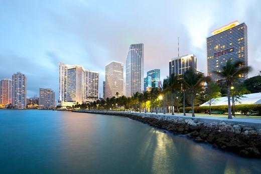 Skyline and Bayfront Park, Miami, Florida, USA : Stock Photo