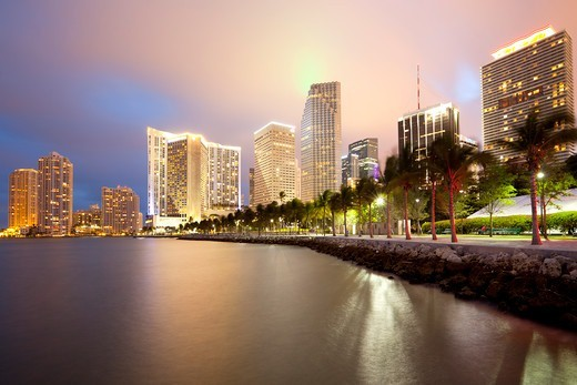 Stock Photo: 1828R-89636 Skyline and Brickell Key, Miami, Florida, USA
