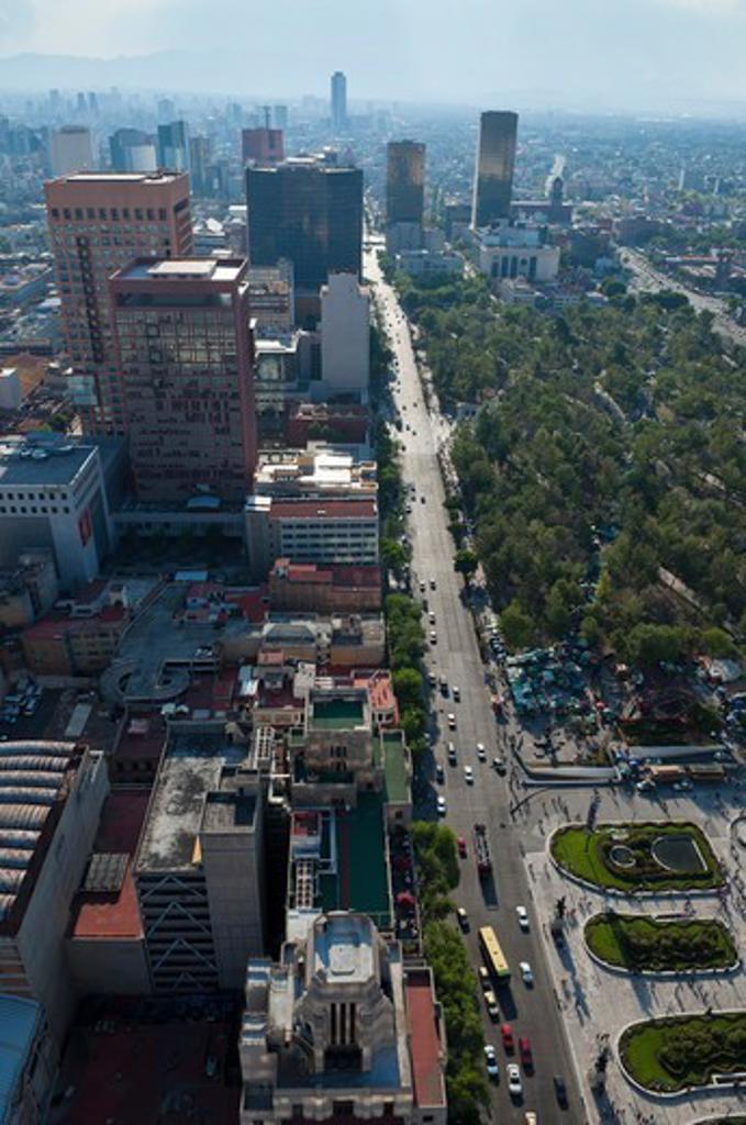 Stock Photo: 1828R-89646 Street and Alameda Central, Distrito Federal, Mexico City, Mexico