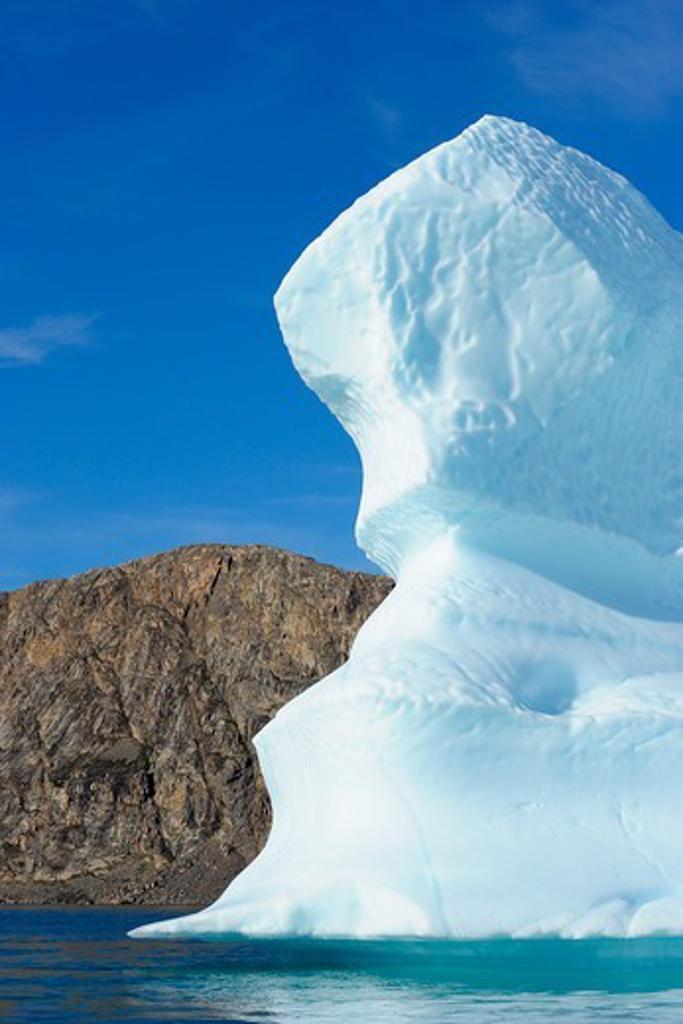 Iceberg and Mountains, Bjorn Oer, Ittoqqortoormiit, Sermersooq, Greenland : Stock Photo