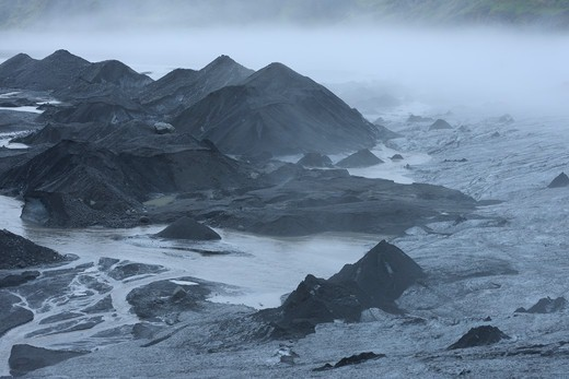 Stock Photo: 1828R-89734 River, Volcanic Landscape, Eyjafjallajokull, South Iceland, Iceland