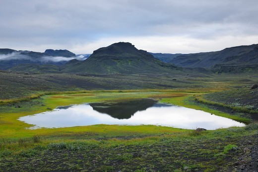 Stock Photo: 1828R-89736 Lake, Volcanic Landscape, Eyjafjallajokull, South Iceland, Iceland