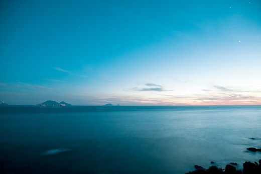 Salina Island from Ginostra, Stromboli Island, Aeolian Islands, Italy : Stock Photo