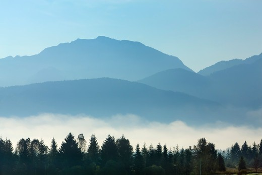 Stock Photo: 1828R-89857 Countryside near Alps in Mist, Penzberg, Bavaria, Germany