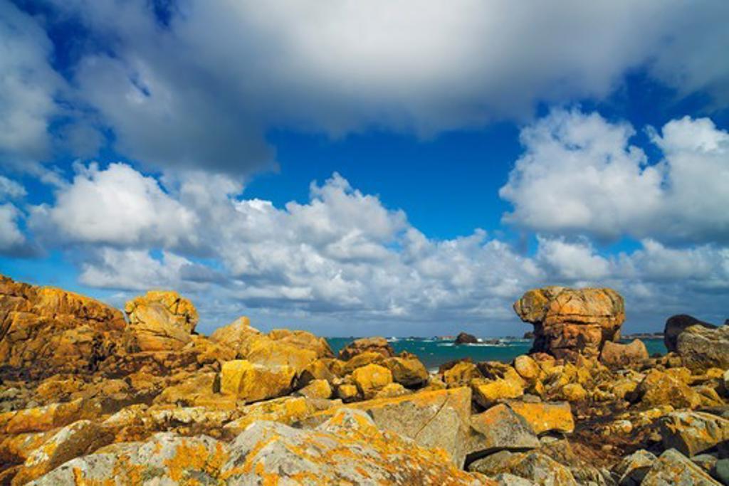 Rocky Coastline near Plougrescant, Cotes-d'Armor, Brittany, France : Stock Photo