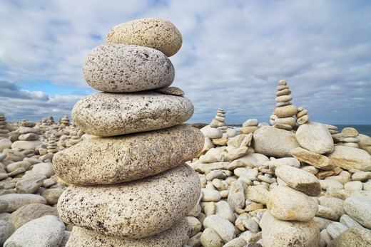 Balanced Rocks at Beach, Trebeurden, Cotes-d'Armor, Brittany, France : Stock Photo