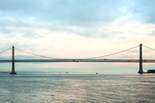Stock Photo: 1828R-89993 Bay Bridge at Dusk, San Francisco, California, USA