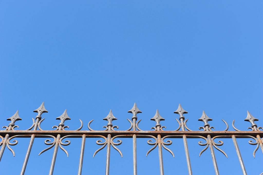 Stock Photo: 1828R-90007 Wrought Iron Fence, Marrakech, Morocco