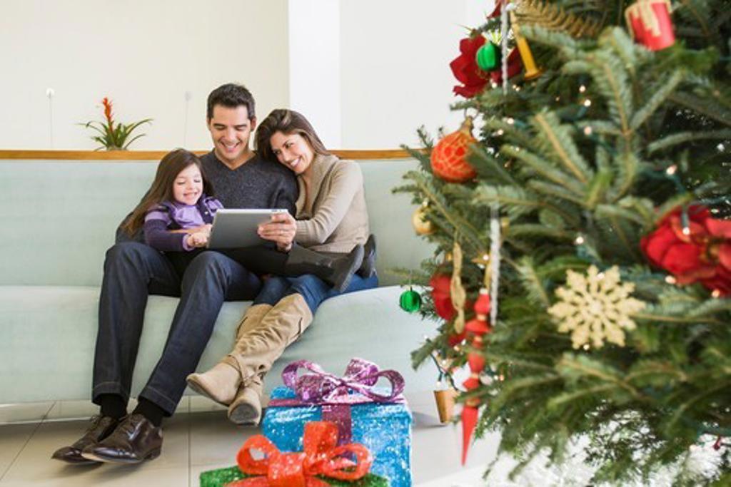Stock Photo: 1828R-90093 Family at Christmas, Florida, USA