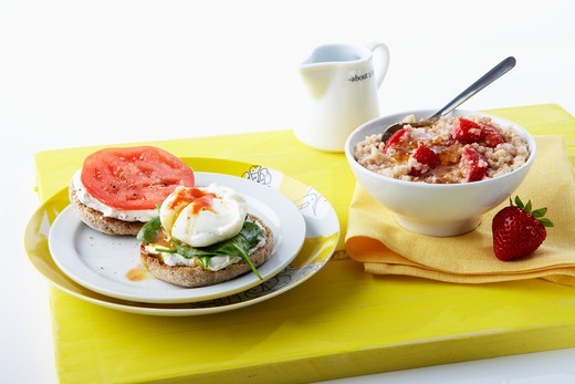 Hot Cereal with Strawberry and Poached Egg on English Muffin : Stock Photo