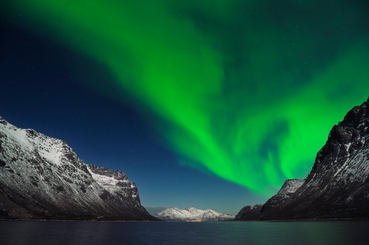 Stock Photo: 1828R-90247 Northern Lights near Tromso, Troms, Norway