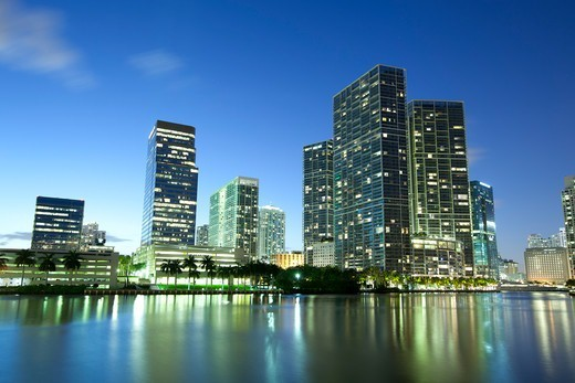 Stock Photo: 1828R-90256 Downtown and Brickell Key, Miami, Dade County, Florida, USA