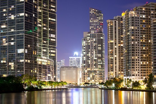 Downtown and Brickell Key, Miami, Dade County, Florida, USA : Stock Photo