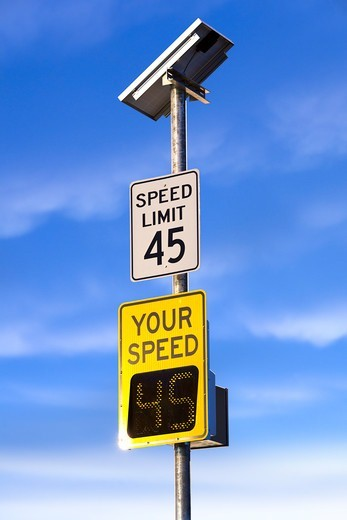 Stock Photo: 1828R-90268 Speed Limit Sign with Driver's Speed
