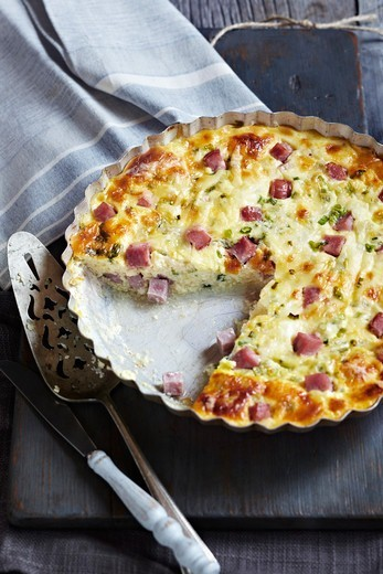 Stock Photo: 1828R-90319 Ham and Cheese Quiche