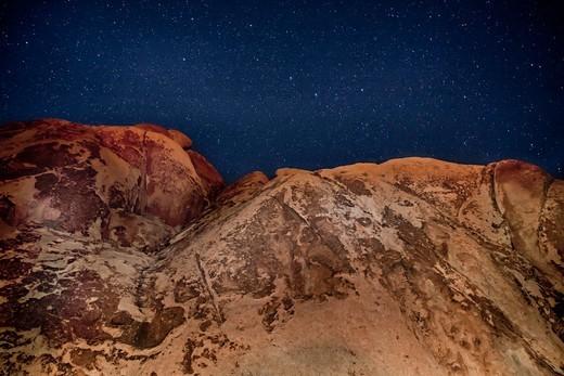 Stars and Rocks, Joshua Tree National Park, California, USA : Stock Photo