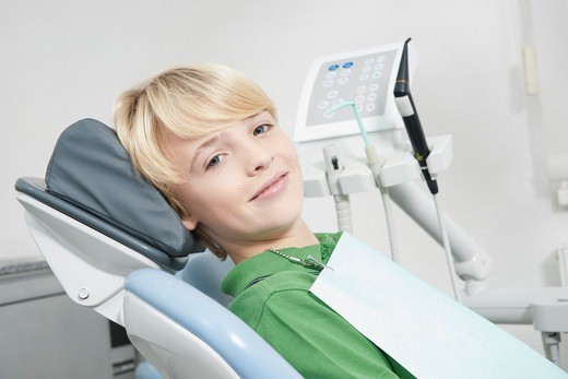 Stock Photo: 1828R-92816 Portrait of Boy in Dentist's Chair for Appointment, Germany