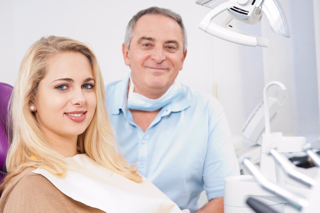 Stock Photo: 1828R-92833 Portrait of Young Woman and Dentist in Dentist's Office, Germany