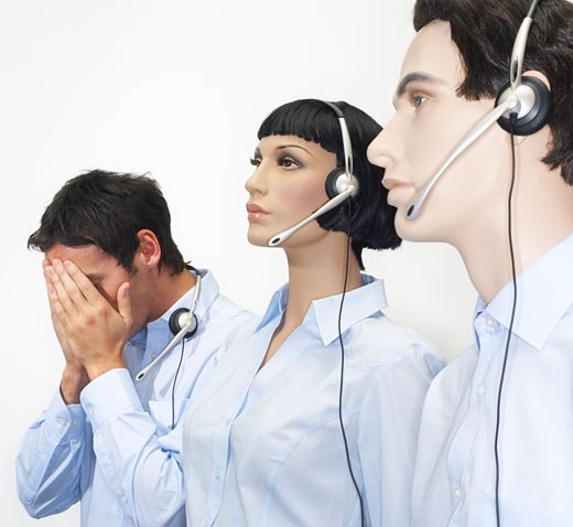 Stock Photo: 1828R-9363 Businessman With Mannequins