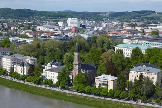 Stock Photo: 1828R-98872 Aerial View overlooking Salzach River with Christuskirche Lutheran Church, Salzburg, Austria,05/03/2012