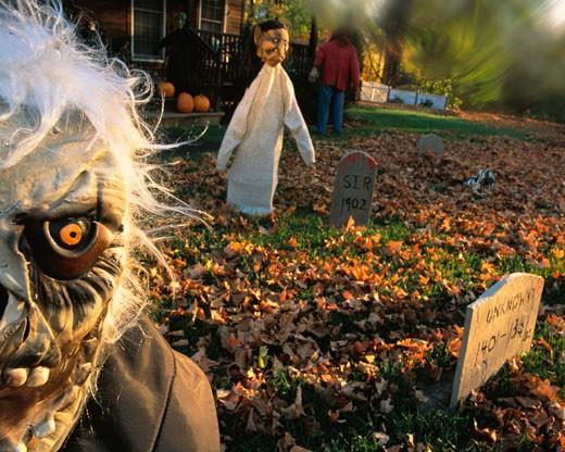 Halloween Display in Yard : Stock Photo
