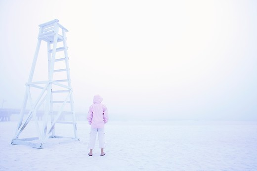 Woman at Beach in Fog : Stock Photo