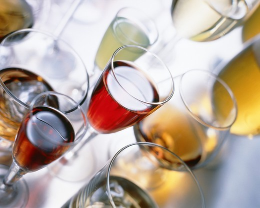 Different glasses and alcoholic drinks : Stock Photo