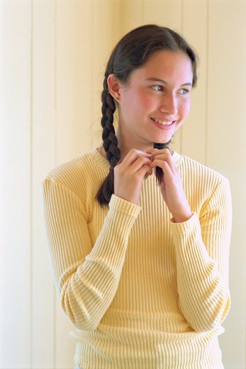 Teen Girl Looking to the Side : Stock Photo