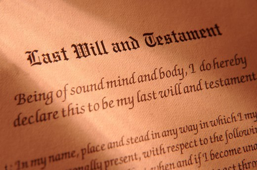 Last Will and Testament Document : Stock Photo