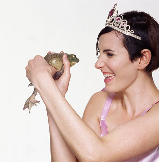 young woman with frog : Stock Photo