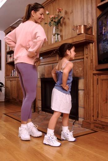 Aerobics with mom : Stock Photo