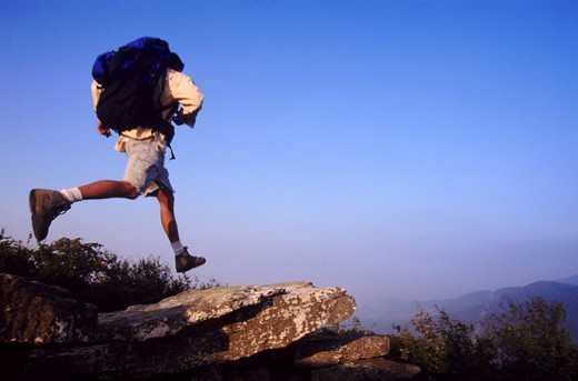 Daring hiker : Stock Photo