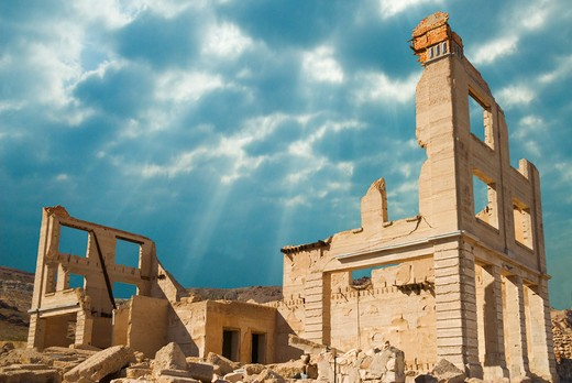 Ruins of a bank, Cook Bank, Rhyolite Ghost Town, Nevada, USA : Stock Photo