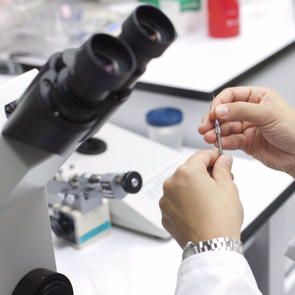 Scientist With Microscope Studying Embryonic Cells : Stock Photo