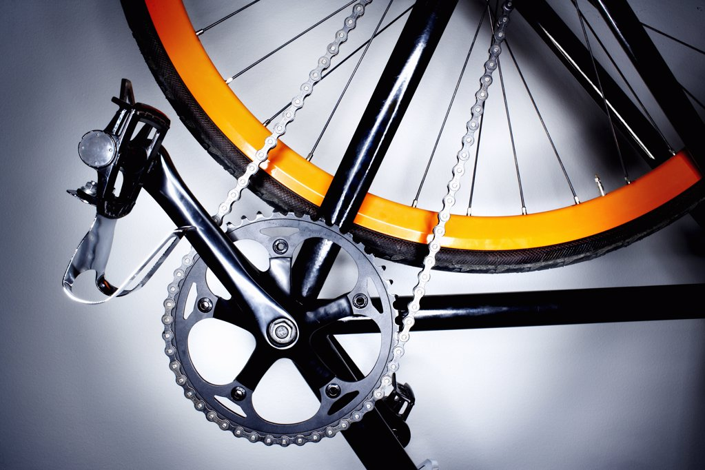 Stock Photo: 1838-10763 Bicylcle Pedal and Chain, Close-Up