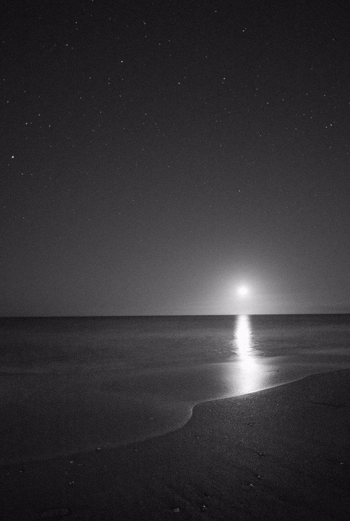 Moonrise Over Ocean at Night, Vero Beach, Florida, USA : Stock Photo