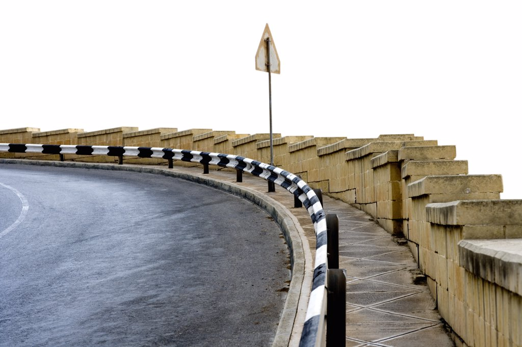 Stock Photo: 1838-12507 Curved Road With Safety Railing, Malta