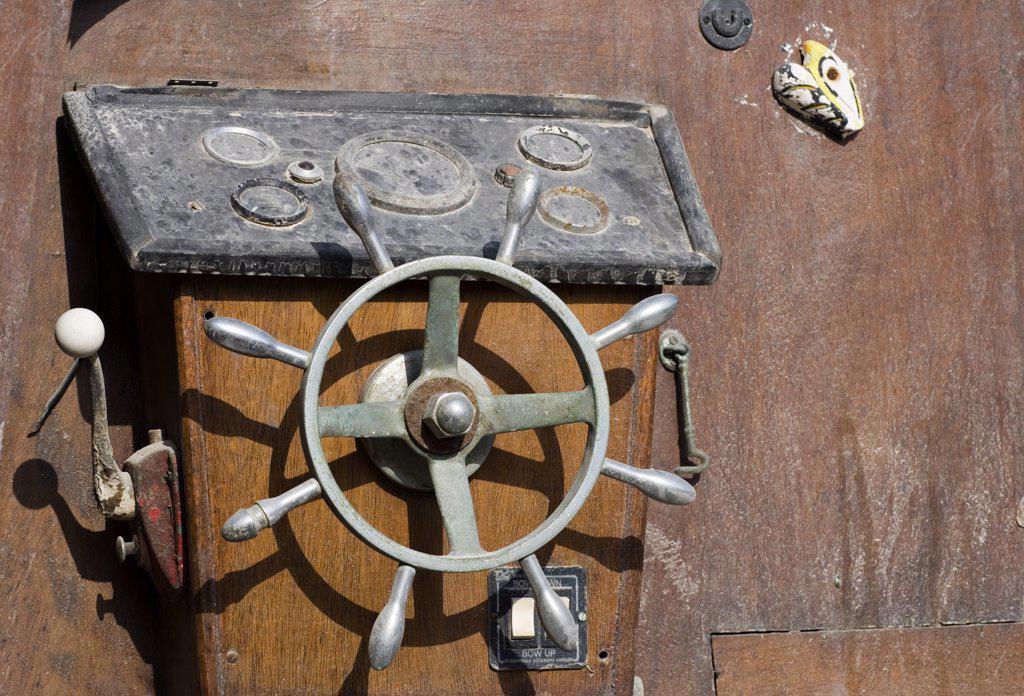 Stock Photo: 1838-12511 Ship's Steering Wheel, Malta