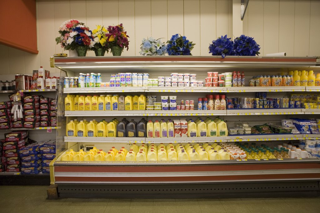 Dairy Products and Other Beverages Inside Grocery Store : Stock Photo