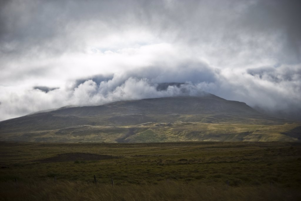 Mountain Shrouded in Dramatic Clouds, Iceland : Stock Photo