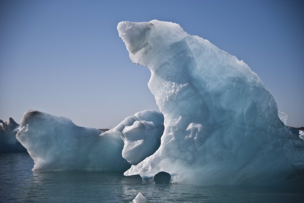 Large, Jagged Icebergs, Jokulsarlon Glacial Lake, Iceland : Stock Photo